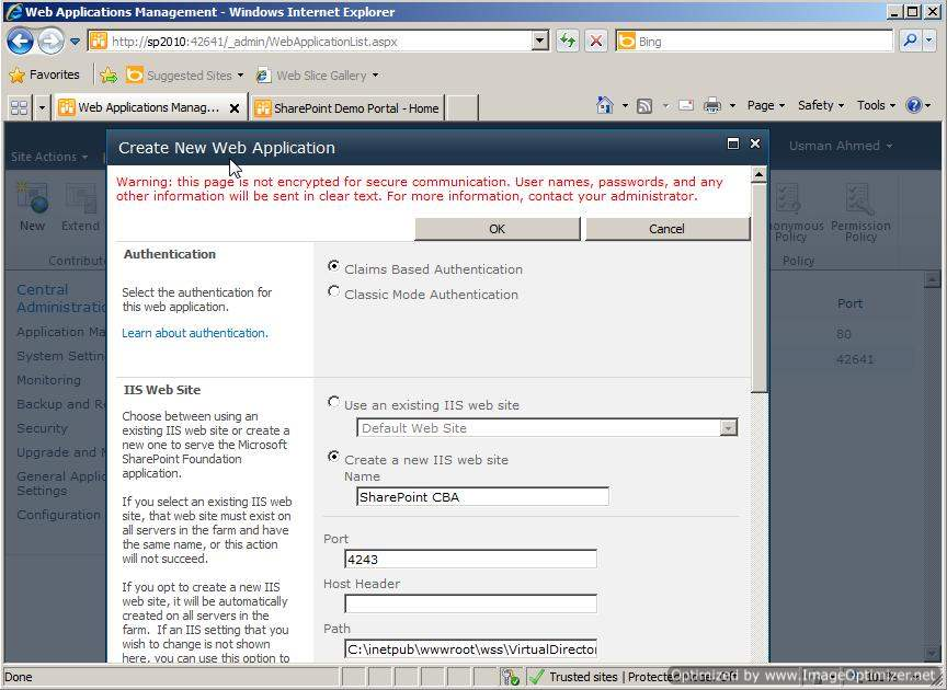 New SharePoint 2010 Web Application