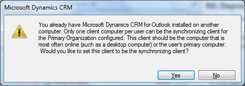 CRM Dynamics Sync Message