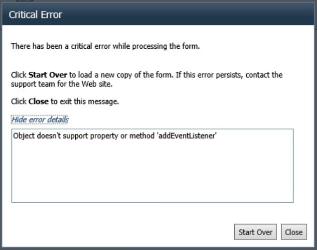 Critical Error Object doesn't