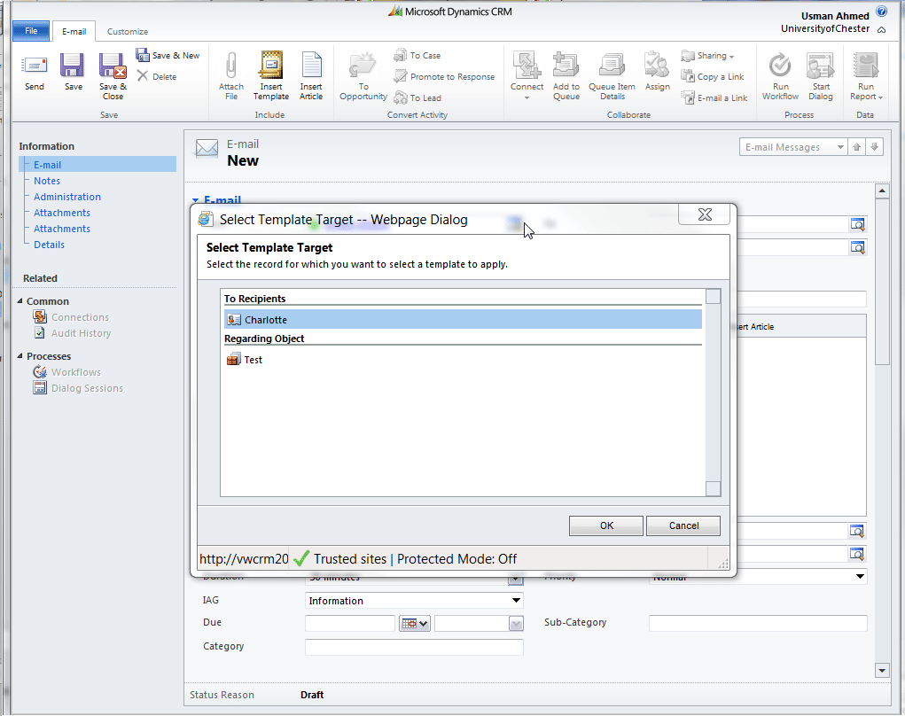 How to use email templates in CRM Dynamics 2011