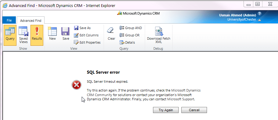 Sql Server Error Timeout Expired - Dynamics 365 Solutions